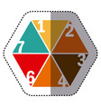 sticker colorful hexagon figure with sections and vector image