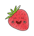 strawberry sweet fruit kawaii cute cartoon vector image