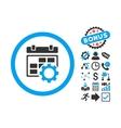 Calendar Settings Flat Icon with Bonus vector image