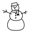 Cute snowman with hat and scarf vector image vector image