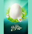 easter egg hunt poster on blue vector image