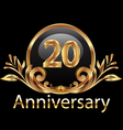 20 years anniversary birthday in gold vector image