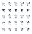 Shopping cart icons black vector image