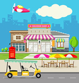 Souvenir shop design background vector image vector image