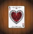 Ace hearts poker card varnished wood background vector image