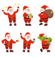 christmas characters collection of cute santa in vector image