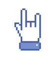 Pixel blue rock hand icon vector image