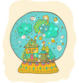 Snowglobe with decorated xmas town vector image