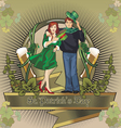 st patrick holiday beer label vector image