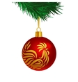 Red color Christmas tree ball with rooster logo vector image