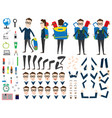 school boy character animation set front back vector image vector image