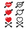 Hearts with arrow love valentines icons set vector image vector image