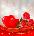 red roses with red hearts vector image vector image