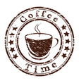 coffee time grunge stamp with a cup vector image vector image