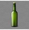 Green transparent realistic beer bottle isolated vector image