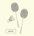 badminton racket and shuttlecocks sketch vector image
