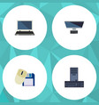Flat icon computer set of pc computer mouse vector image