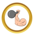 Brawny arm with dumbbell icon vector image