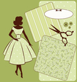 Vintage sewing element s with woman vector image