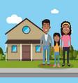family near house residential vector image