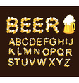 Font beer Letters from beer mugs vector image