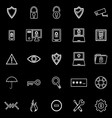 Security line icons on black background vector image