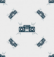Radio cassette player icon sign Seamless pattern vector image