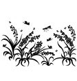 black silhouette insect grass vector image