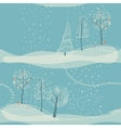 seamless winter background with trees vector image
