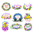 hello spring floral frame and border icon set vector image
