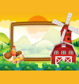 frame template with chickens in the farm vector image