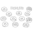 donuts elements hand drawn set coloring book vector image
