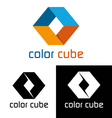 Color cube logo template vector image
