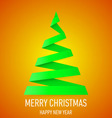 Christmas tree made of folded paper origami 09 vector image
