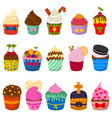 set of cute cupcakes and muffins isolated vector image