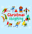 shopping people set christmas sale lettering vector image
