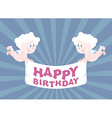 Two Angels hold Ribbon happy birthday Cute babes vector image