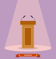Wooden podium tribune rostrum stand with vector image