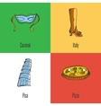 Italy National Symbols Icons Set vector image