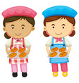 Two bakers holding tray of bread vector image vector image