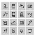 black home appliances icons set vector image