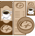 Set for the cafe menu business card and coasters vector image