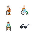 Flat icon disabled set of spectacles handicapped vector image