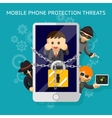 Mobile phone protection threats Security against vector image