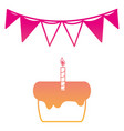 silhouette cake pastel with candle and flag party vector image