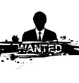 wanted design with silhouette man vector image