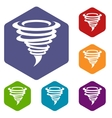 Tornado icons set vector image
