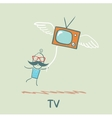 man flying with TV vector image