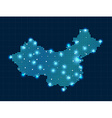 pixel China map with spot lights vector image