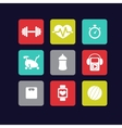 Fitness icons white vector image vector image